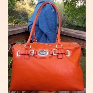 XL MICHAEL KORS Used Weekender Hamilton Orange Bag